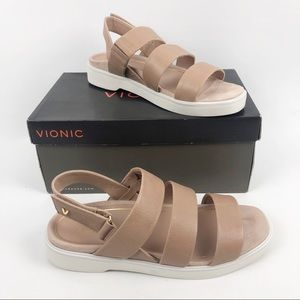Vionic Leila Keomi Leather Strappy Sandals